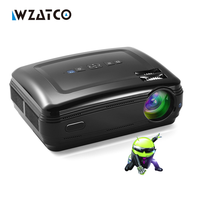 WZATCO New Android 6.0 Smart WiFi 5500Lumens Full HD 1080P multimedia LED 3D TV Projector proyector beamer for home theater
