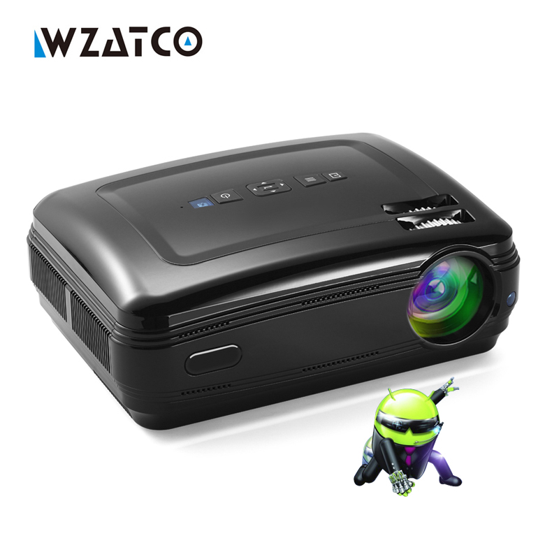WZATCO New Android 6.0 Smart WiFi 5000Lumens Full HD 1080P multimedia LED 3D TV Projector proyector beamer for home theater