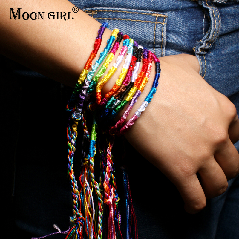MOON GIRL 10 Pieces Cotton Friendship Bracelets Anklet Bohemian Hand Weave Chic Girls Charms Bracelet for Women Drop Shipping