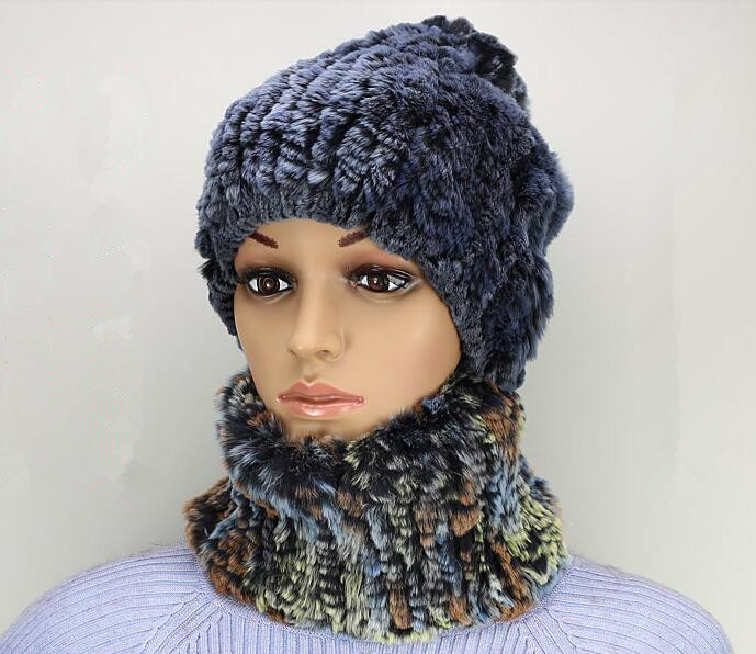 ФОТО H757-new arrival  fashion blue gray sweet women's scarf of genuine rex rabbit .autumn winter knitted fur hat
