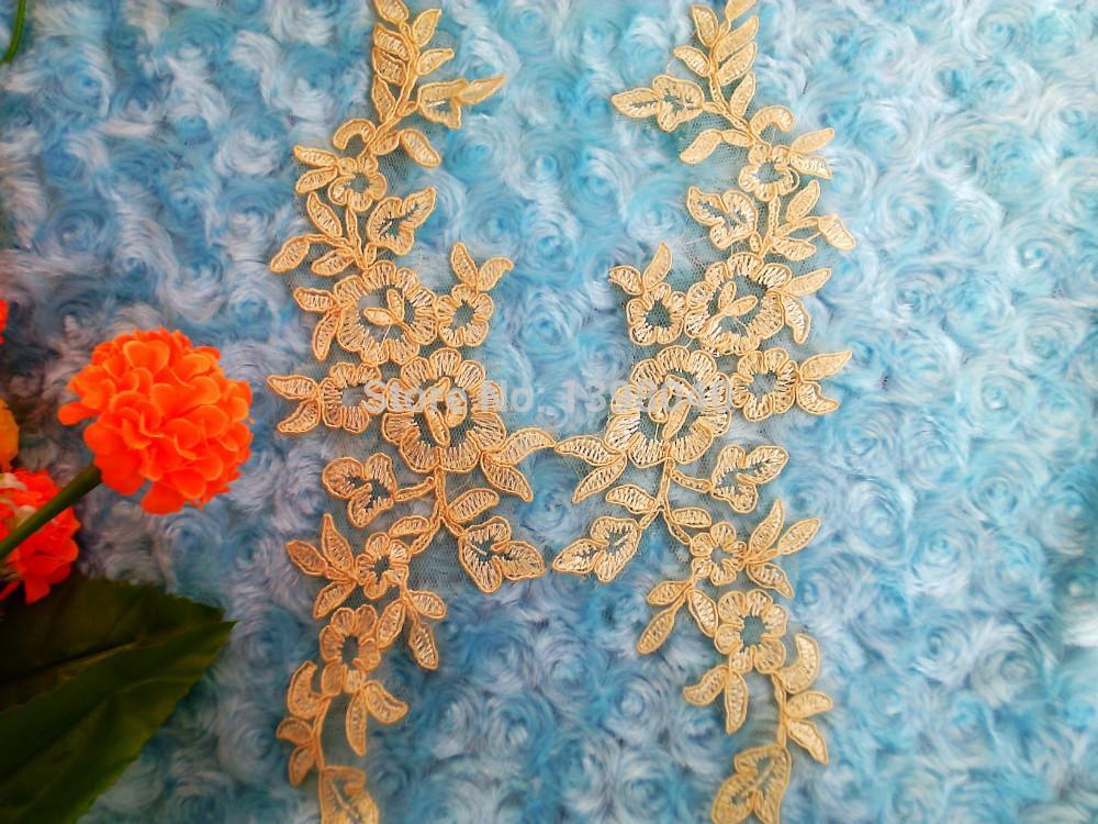Wholesale big promotion Light Yellow sew on lace applique 25*8cm for dress veil Manual accessories DIY 2pair/bag
