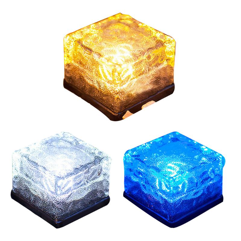 Waterproof IP68 Led Solar Light Power Clear Glass Ice Rock Brick Paver Light White Warm White Blue LED Outdoor Garden Decoration