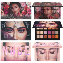Huda Beauty Palette Eyeshadow 18 Colors Rose Matte Glitter Make Up Set