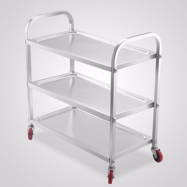 Kitchen Serving Cart Table With Drawers 3 Shelf Stainless Steel Utility 17 X35 Platform 330lbs Capility