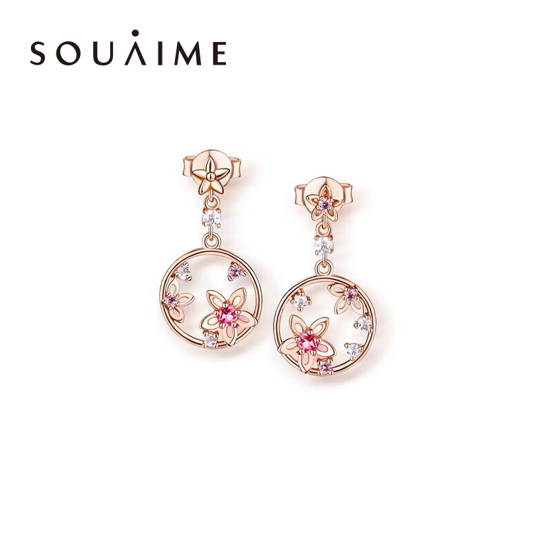 Souaime 2018 Limited Hot Sale Brinco Sterling Rose Natural Powder Inlaid Circle Asymmetric Earrings For Women Fine Jewelry Gift