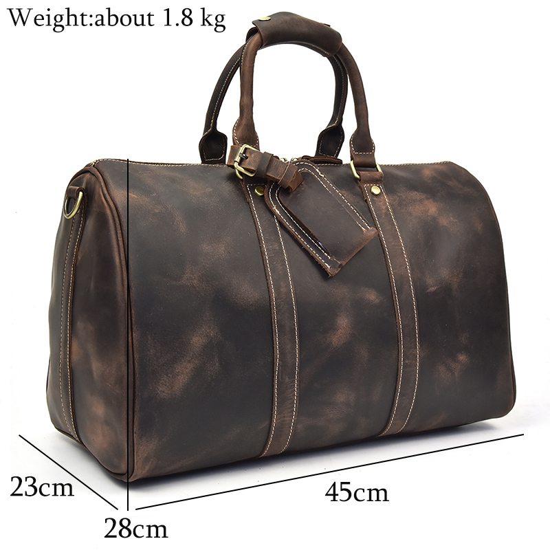 Vintage Crazy horse leather Man travel duffel 18 inch genuine leather big travel bag cow leather