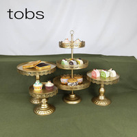 4pcs Wedding Cake Tier Cupcake Silver Party Gold Fruit Crystal Tray Set Dessert Stand
