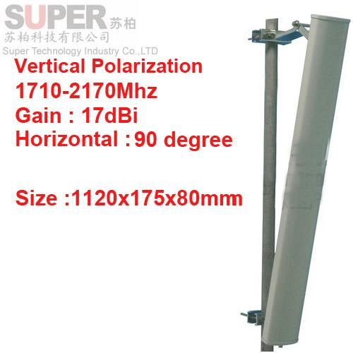 17 dbi de polarización vertical 90 deg 1710 - 2170 Mhz antena Panel DCS 3 G antena estación Base uso LTE FDD antena TDD 4 G LTE antena