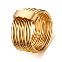 2016 Fashion Stainless Steel Jewelry 6pcs Set Wedding Rings18K Gold Plated Russian Interlocking Rings For Woman