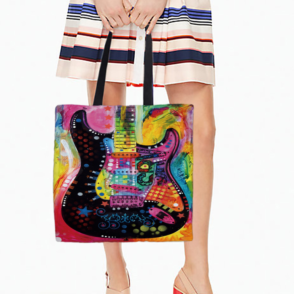 Electric Guitar Printed Canvas Tote Female Casual Beach Bags Large Capacity Women Single Shopping Bag Daily Use Handbags