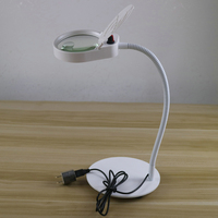 PDOK USB plug Glass Lens Desk Lamp magnifying 8X 15X with 38 LEDs Stand