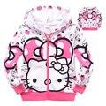 Детские девушки Толстовки и Кофты Пальто Hello Kitty Молнии С Капюшоном Верхней Одежды пальто детская Одежда Наряд Для 2 4 6 8 10 Лет