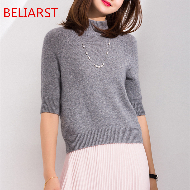 Spring And Summer New Women Half High Collar Pullover Fashion Solid Color Cashmere Vest Loose Casual Short Sleeve Knitted Shirt