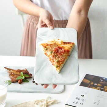 KINGLANG 2 - ขนาดเซรามิค Nordic สไตล์ Marbled แผ่นอบถาดซูชิจานบนโต๊ะอาหาร