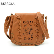 Hollow Out Flower Women Bag High Quality PU Leather Messenger Bags Weave Shoulder Crossbody Bag 9L06