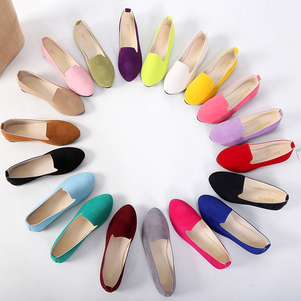 Womens Flats Shoes Cute Candy Color Shoes Loafers Female Comfort Slip On Round Toe Ballet  Ladies Flat Shoes Zapatos Mujer #YJP