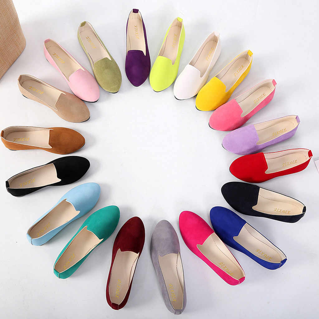 Womens Flats Shoes Cute Candy Color Shoes Loafers Female Comfort Slip On Round Toe Ballet  Ladies Flat Shoes zapatos de mujer@py
