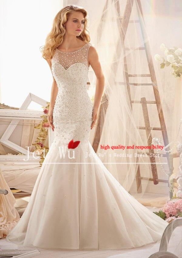 2015 nouveau design sexy sirène lourd perles le haut du corps propre plaine organza jupe robe de mariage robe gagnant reine fabricant 9024