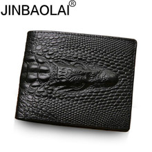 2018 Crocodile skin wallet men genuine leather small zipper