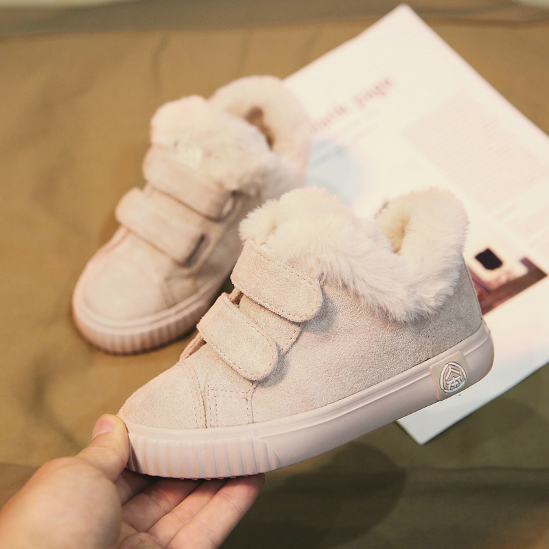 RENBEN 2018 New Winter Children Boots Thick Warm Shoes Cotton-Padded Suede Buckle Boys Girls Boots Boys Snow Boots Kids Shoes