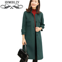 Winter Long Wool Cashmere Coat 2017 New Women Stand Collar Green Woolen Parka Leisure Large Size
