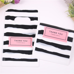 Image 3 - Wholesale 50pcs/lot New Design Black&white Striped Packaging Bags for Gift Small Plastic Jewellery Pouches with Thank You