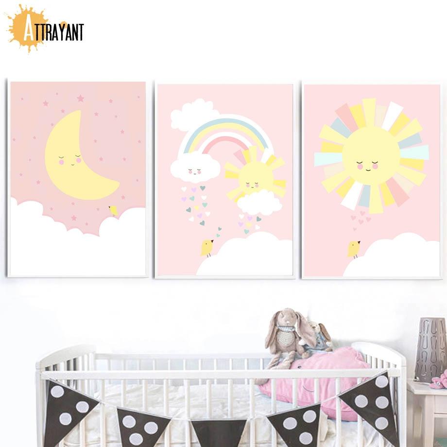 ATTRAYANT Moon Rainbow Sun Nordic posters en prints Canvas schilderij - Huisdecoratie