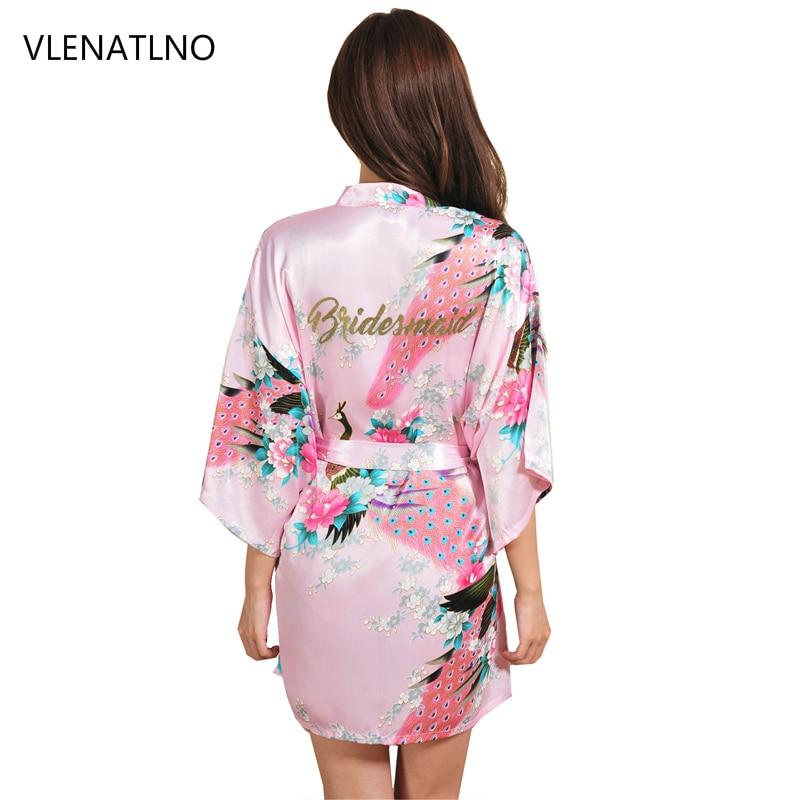 Women Silk Satin Short Night Robe Solid Kimono Robe Fashion Bath Robe Sexy Bathrobe Peignoir Femme Wedding Bride Bridesmaid Robe