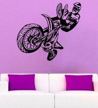 موتوكروس الفينيل ملصقات جدار المتطرفة الرياضة تظهر موتوكروس الشباب نزل نوم ديكور المنزل جدار صائق 2CE8