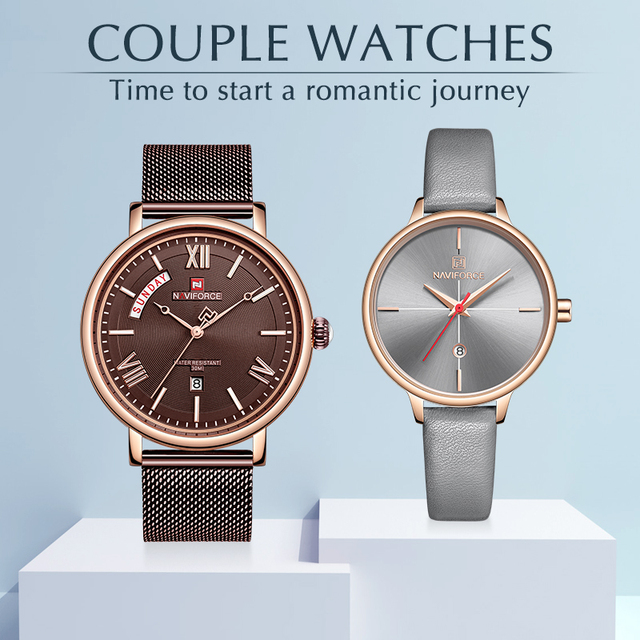 NAVIOFRCE Couple Watches for Lovers Waterproof Quartz Watch for Male and Female Fashion Casual Clock Reloj Hombre Set for Sale