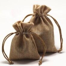 100 unids/lote CBRL yute/lino/lino bolsas de cordón y bolsa de cosméticos/tuercas/cereales, Varios colores, tamaño modificado para requisitos particulares, venta al por mayor