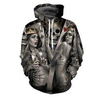 Fashion Skull Poker 3D Hoodies Men Women Hoodie Casual Brand Sweatshirts Drop Ship Male Jackets Novelty