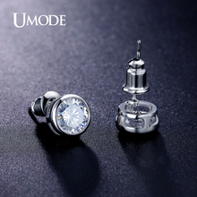 UMODE Summer Bijoux Femme Rhodium plated Bezel Setting AAA CZ  Fashion Stud Earrings For Women Jewelry Gifts AUE0092