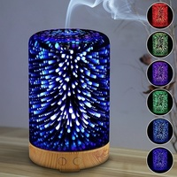 Ultra quiet 3D Glass Aromatherapy Oil Diffuser, Air Humidifier, Color Changing 100ML Essential Oil Cool Mist Humidifier