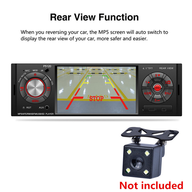 """Car MP5 Player 4.1 """" Screen Display FM Radio Audio Stereo, Bluetooth, USB  and AUX-IN with Steering Wheel Control Remote"""