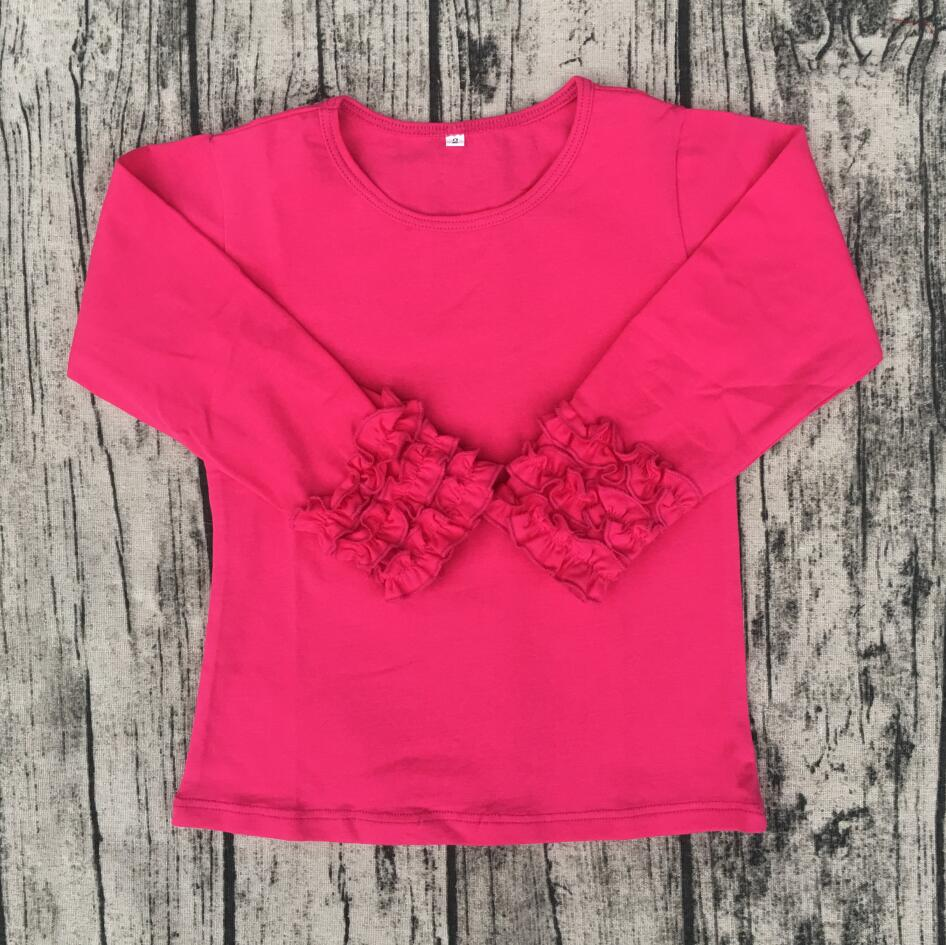 baby kids t shirts designer western tops images hot pink Toddler Cotton Monogram Clothes Ruffle Sleeve Blank Icing Shirt Kids
