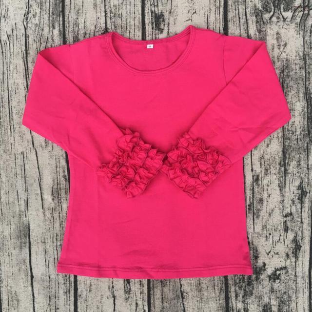 e787893de4e baby kids t shirts designer western tops images hot pink Toddler Cotton Monogram  Clothes Ruffle Sleeve Blank Icing Shirt Kids