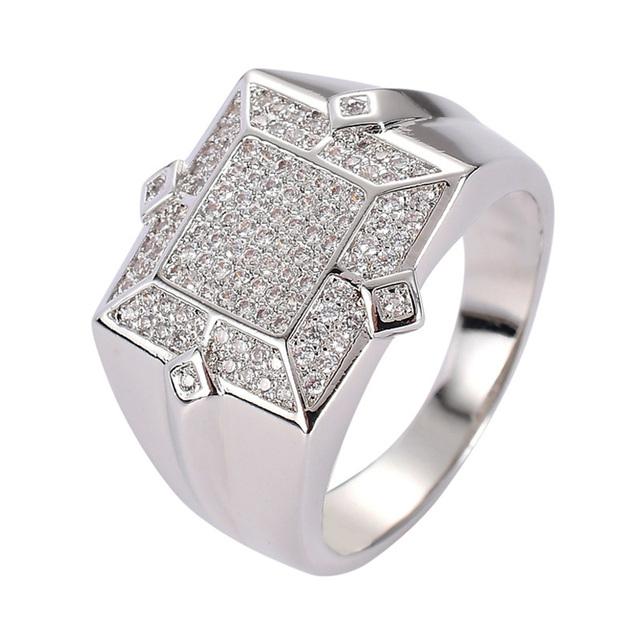 Hip Hop AAA Cubic Zirconia Bling Iced Out Geometric Square CZ Rings Men Women Fashion Jewelry Gold Silver Drop Shipping
