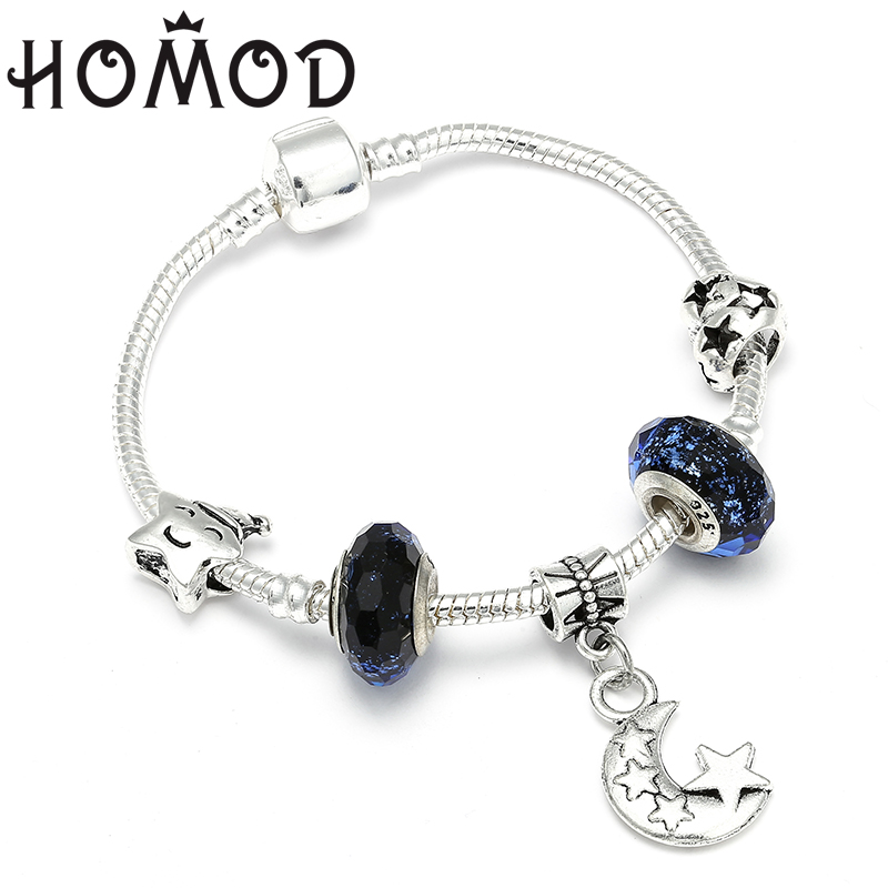 HOMOD New Arrival Original European Bracelets Moon Star Charm Beads Fits Brand Bracelets Bangles Friendship Diy Jewelry in Charm Bracelets from Jewelry Accessories