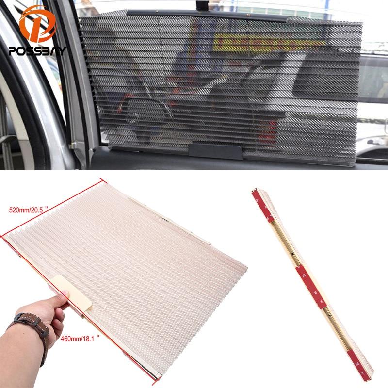 POSSBAY Beige Universal Auto Fenster Vorhang Seite Fenster Sonnenschutz Abdeckung Netz Masken-schild-schirm Versenkbare Windschutzscheibe Sonnenschirm