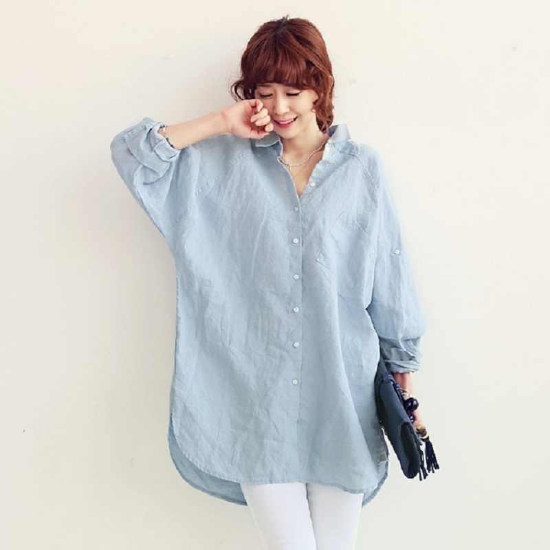 cd6d45796fd7676 Новые весенние/летние рубашки для беременных из хлопка/льна, большие размеры,  женские