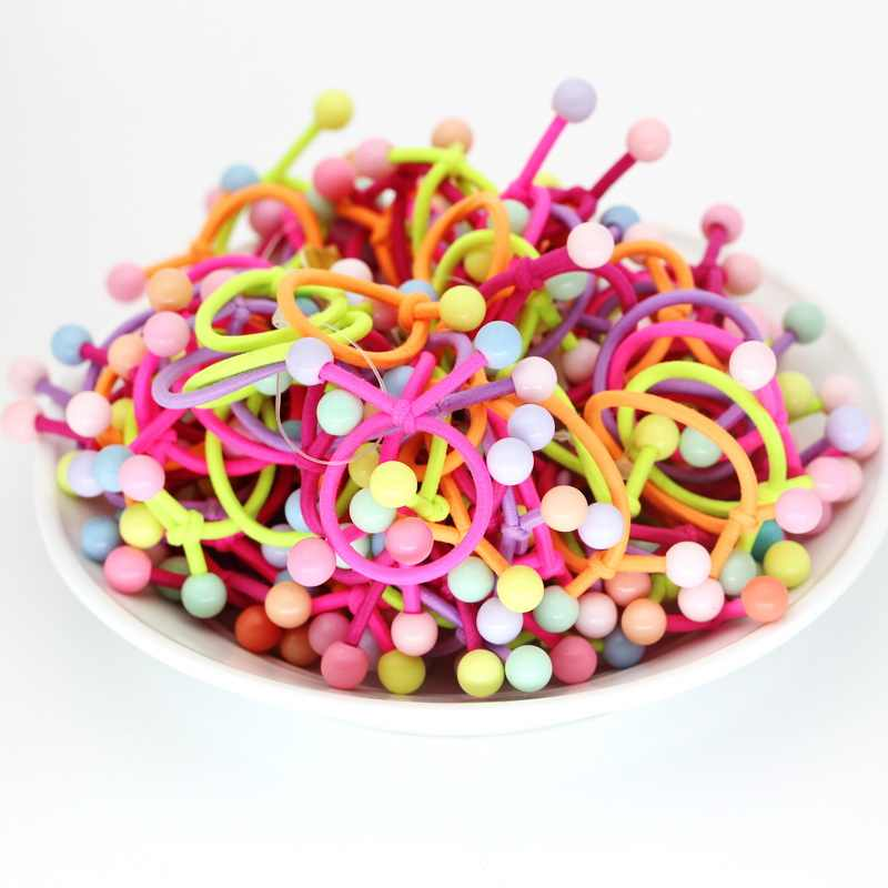 isnice 2 Ball Headwear 30pcs/lot Dia 28mm Rainbow Color Gum For Hair Rubber bands Small cute hair accessories girl ornaments