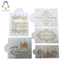 5pcs/set Ramadan Kareem Spray Stencils Birthday Cake Mold Decorating Bakery Tools DIY Kicthen Accessries for eid mubarak GYH