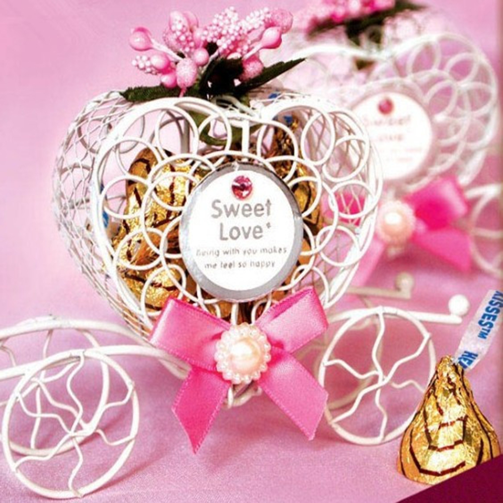 Free shipping 50 pcs/lot Pink Carriage gift box, Iron box fairy tale ...