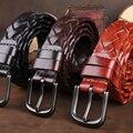 Cinturón trenzado Hecho A Mano de Cuero Genuino de Calidad Superior Para Hombre Cinturones de Lujo de Estilo Británico de Los Hombres de La Correa Correa de La Vendimia Homme Ceinture MBT0014