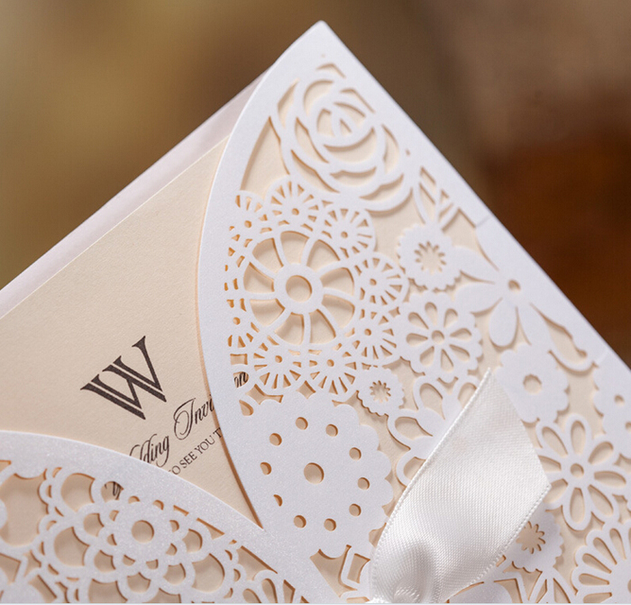 Online Shop Lace Wedding Invitations Elegant Embossed White Ribbon – Butterfly Wedding Invitation Cards