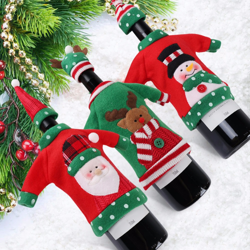 OurWarm Ugly Christmas Sweater Wine Bottle Cover New Year Decoration Santa Claus Snowman Elk Decorations For Home