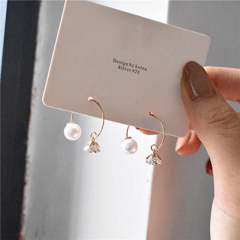 Brand Design Pearl Crystal Double Side Gold Color Hoop Earrings Fashion Women Party Ladies Earrings Brincos Wedding Jewelry