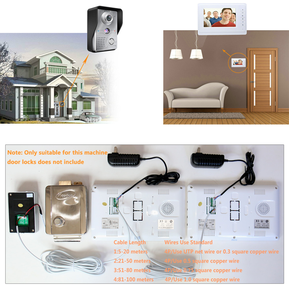 Купить с кэшбэком Video Door Intercom 7''Inch Wired Video Door Phone Visual Video Intercom System Doorbell Monitor Camera Kit For Home Security