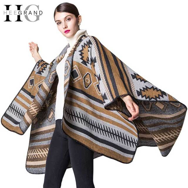 HEE GARAND 2016 Women Outwear Scarves Shawls Geometric Autumn Wraps Oversized Knitted Women Shawls New Fashion Cardigans PWX212